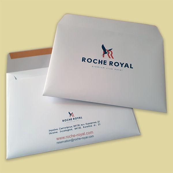 Полиграфия и сувениры для гостиниц - фирменные конверты